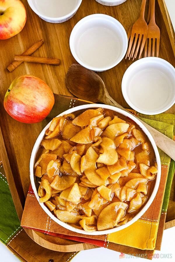 Fall table with fried apples in serving bowl.