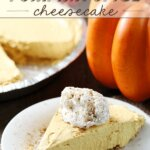 No-Bake Pumpkin Spice Cheesecake on a white plate.