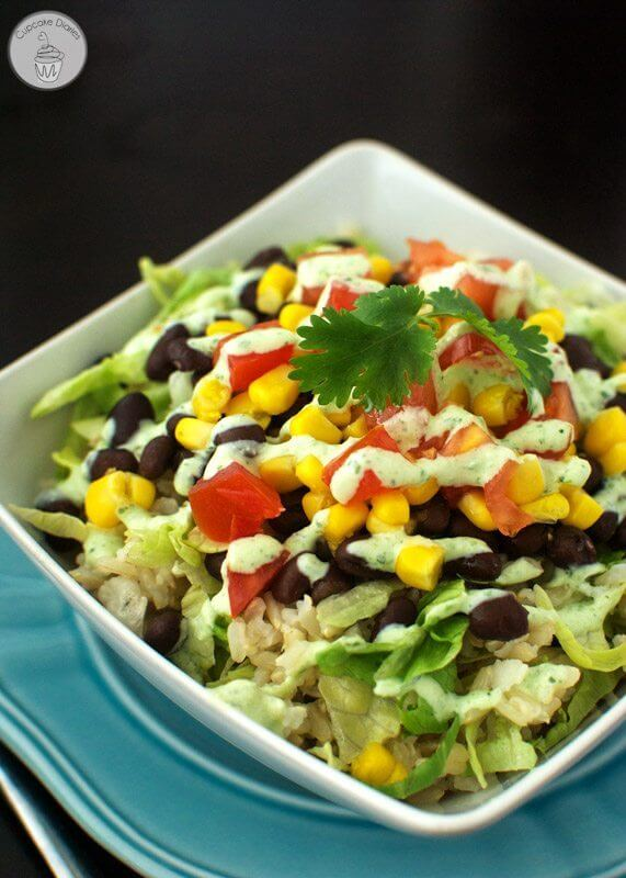 Burrito Bowls with Light Tomatillo Ranch Dressing #EatHealthy16