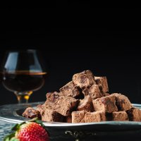 Homemade chocolate with champagne and brandy