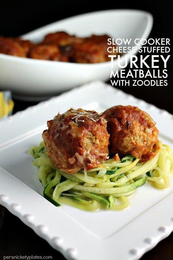 Slow Cooker Cheese Stuffed Turkey Meatballs with Zoodles – Eat Healthy 2016