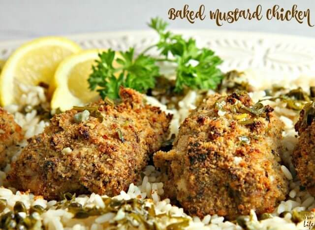 Baked Mustard with Lemon Caper Rice