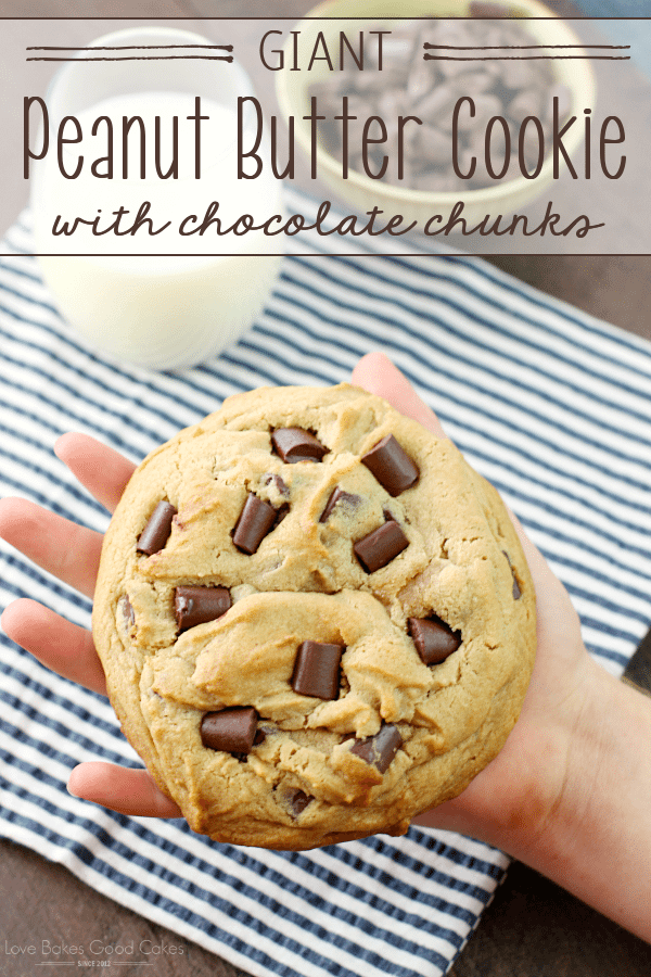 Giant Peanut Butter Cookie with Chocolate Chunks