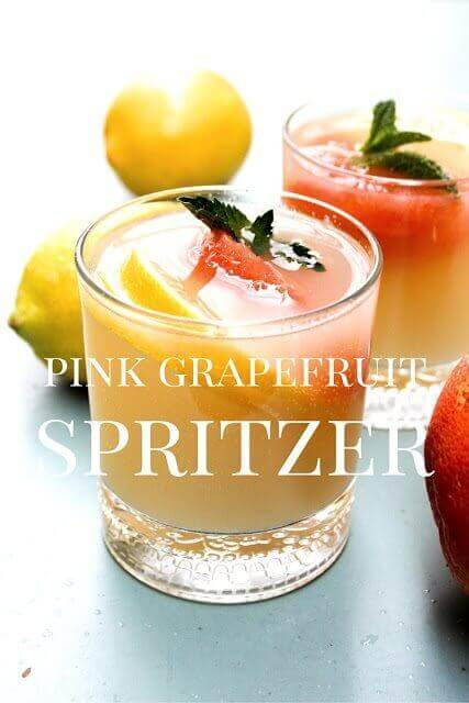 Pink Grapefruit Spritzer in a glass.
