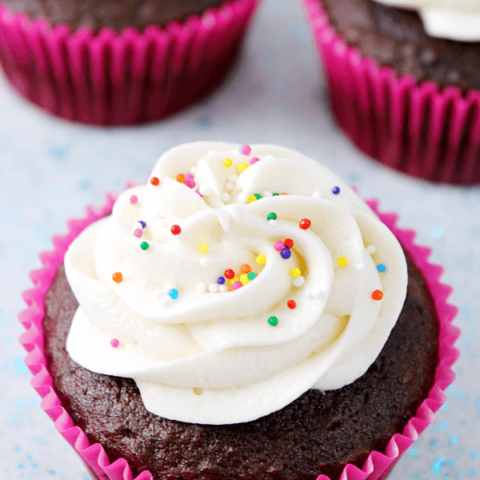 Simple Vanilla Buttercream Frosting with rainbow sprinkles.