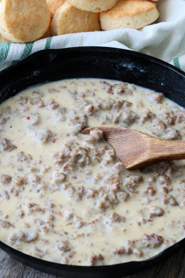 thickened gravy in skillet