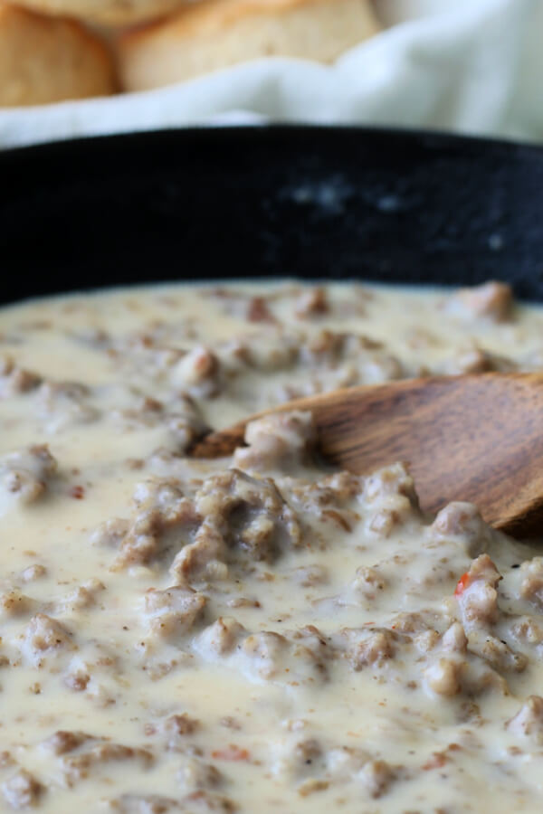 southern sausage gravy in cast iron skillet