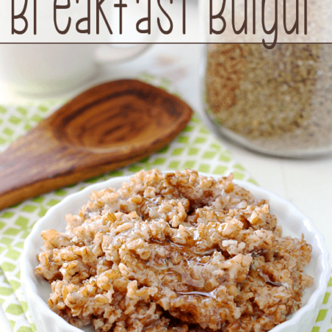 Brown Sugar and Cinnamon Breakfast Bulgur in a bowl with a spoon.
