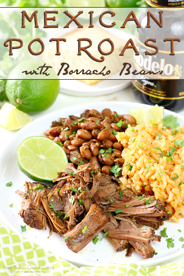 Mexican Pot Roast with Borracho Beans and Mexican rice on a plate with a lime.
