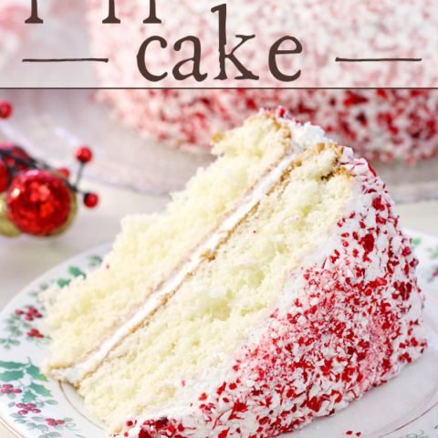 Holiday Peppermint Cake on a holiday plate.