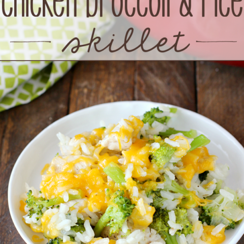 Cheesy Chicken Broccoli & Rice Skillet on a white plate.