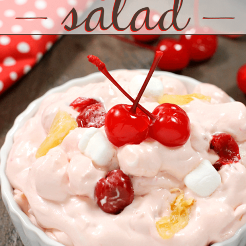Cherry Chiffon Salad in a white bowl with cherries.