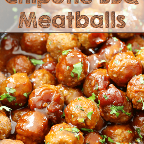 Slow Cooker Chipotle BBQ Meatballs in a skillet.