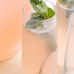 pink lemonade punch with mint sprig