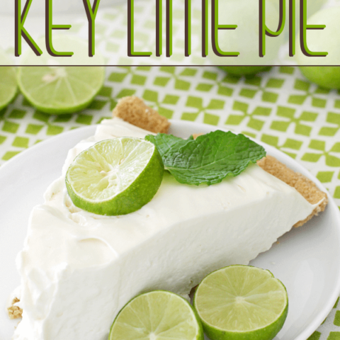 No-Bake Key Lime Pie on a plate with fresh limes.