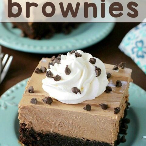 French Silk Pie Brownies on blue plates with chocolate chips.