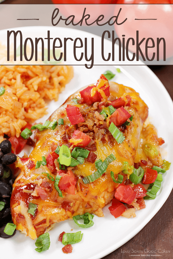 Baked Monterey Chicken on a white plate with Mexican rice.