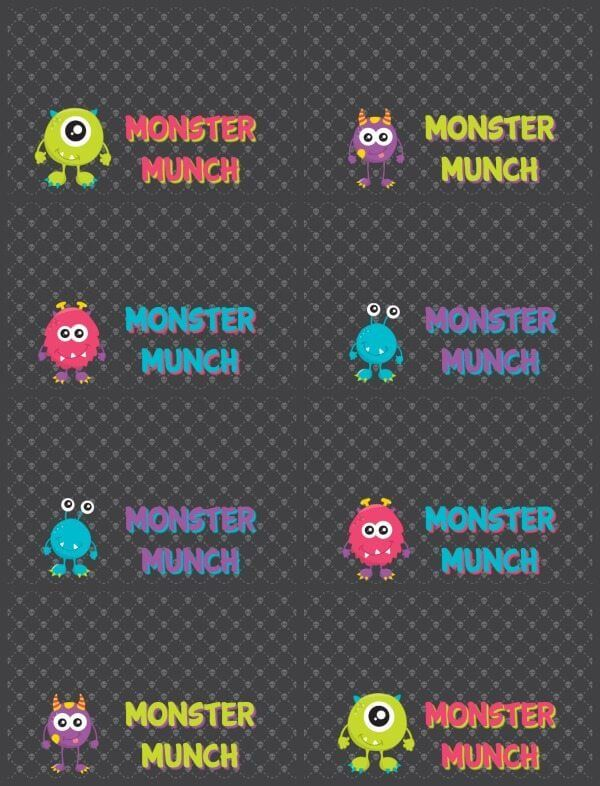 Halloween Monster Munch black printable