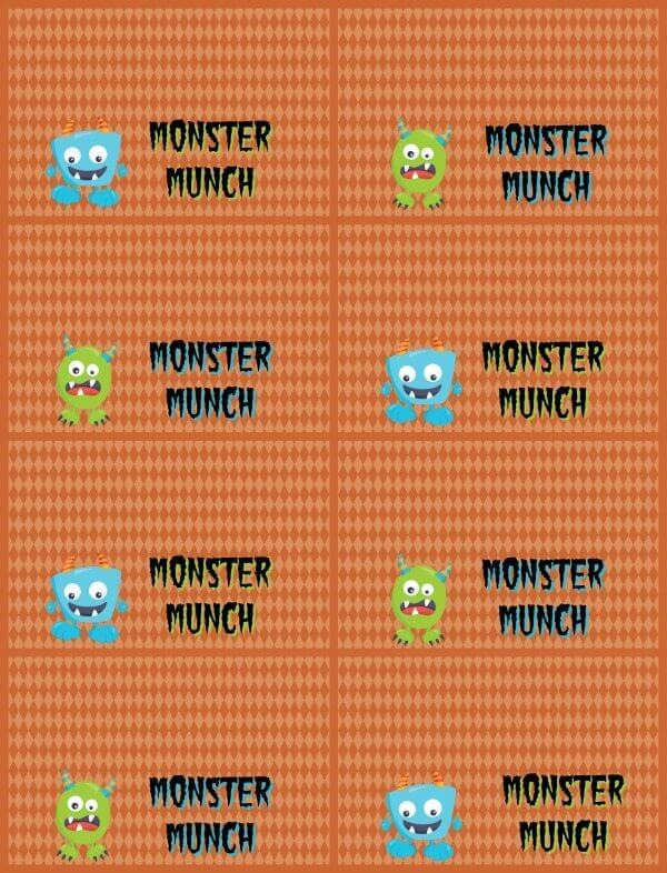 Halloween Monster Munch orange printable