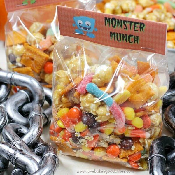 Halloween Monster Munch in bags with chains square image
