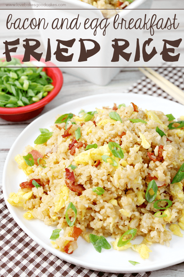 With just a few ingredients, it's easy to make this Bacon & Egg Breakfast Fried Rice! Who says breakfast has to be boring? Great for dinner, too!