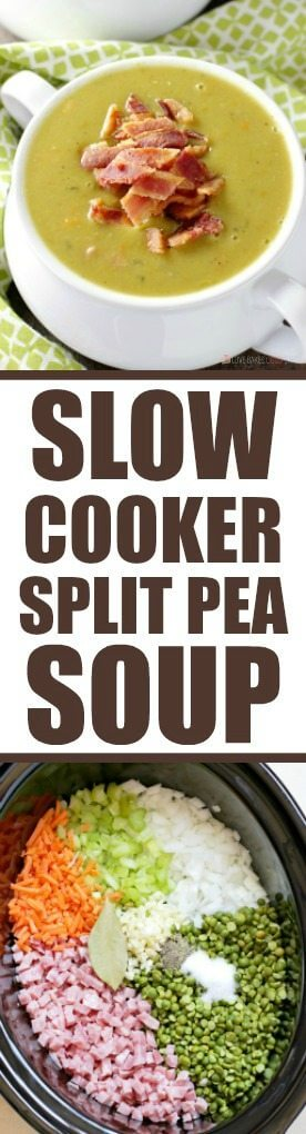 This delicious and healthy Slow Cooker Split Pea Soup is a cinch to put together. Serve it with a crusty bread for an easy, affordable meal.
