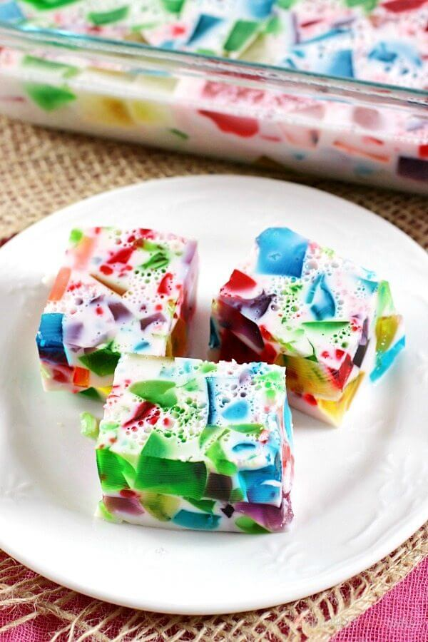 "You'll hear plenty of ""oohs"" and ""aahs"" when you serve this Broken Glass Jello. It's a fun and colorful treat for kids ... and kids at heart!"