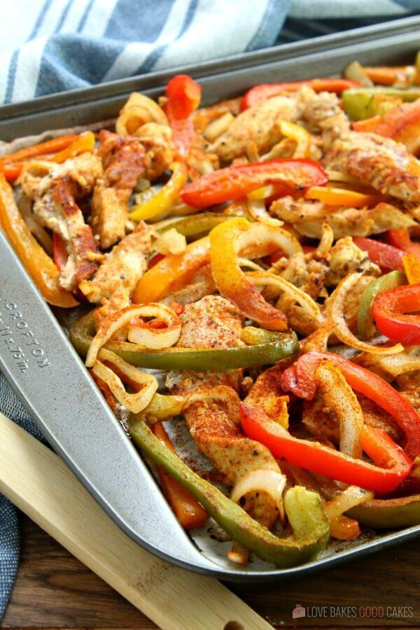 Sheet Pan Chicken Fajitas on a baking sheet.
