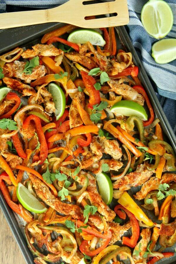 Sheet Pan Chicken Fajitas with lime.
