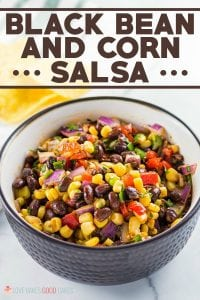 Whether for your summer party or for your next game day tailgate, this Black Bean and Corn Salsa is the perfect appetizer when served with some tortilla chips! Also great served over fish, chicken, pork, and beef as a salsa.