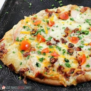 Add a new favorite to pizza night with this Chicken Bacon Ranch Naan Bread Pizza! This flavor combo pairs well on naan bread and makes the perfect pizza idea!