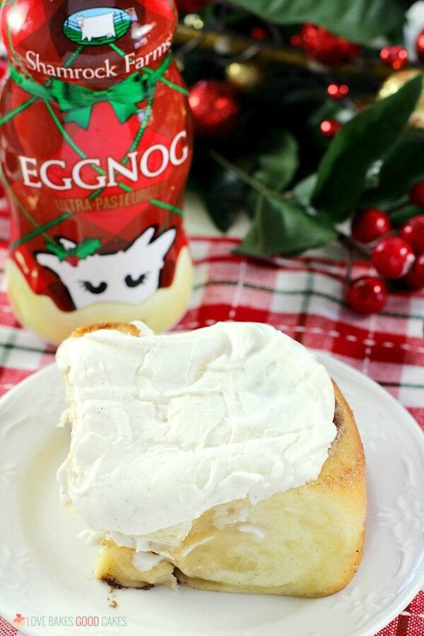 Make Christmas morning memorable with a pan of Eggnog Cinnamon Rolls. A soft, gooey eggnog-infused cinnamon roll topped with an amazing eggnog glaze.
