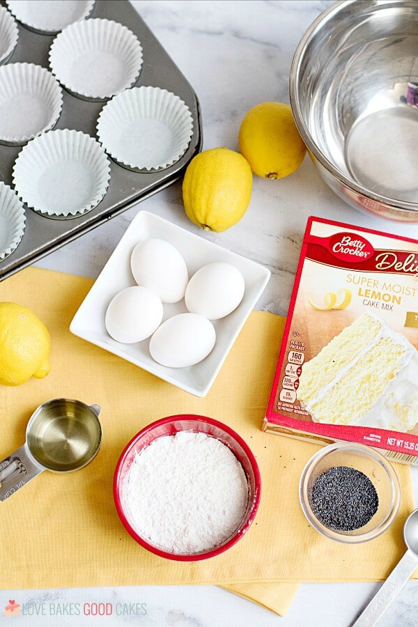 Lemon Poppy Seed Muffin ingredients laid out.
