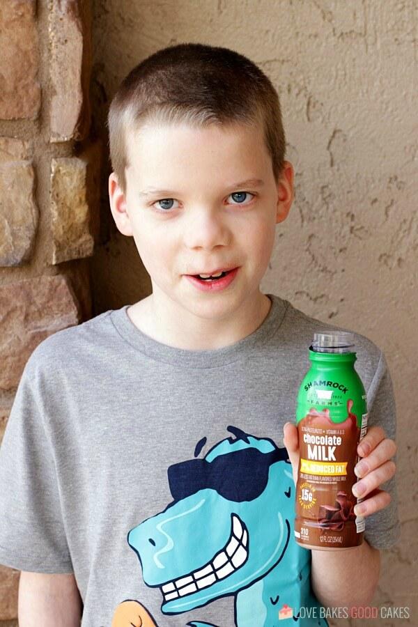 boy chold with Shamrock Farms milk