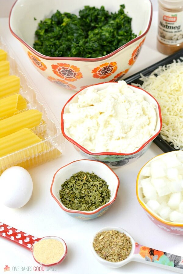 ingredients for Spinach Ricotta Manicotti