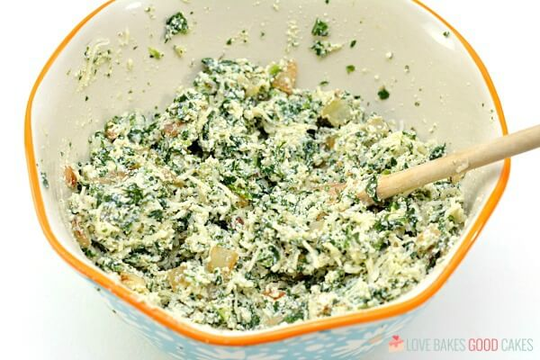 Spinach Ricotta Manicotti filling in a mixing bowl