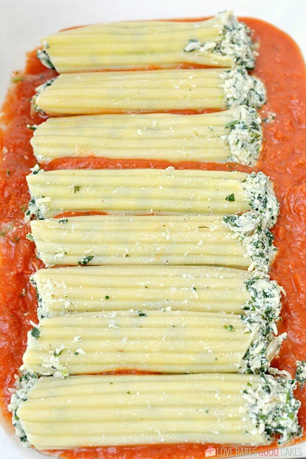 Baking dish filled with Spinach Ricotta Manicotti