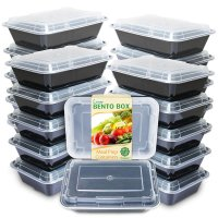 Meal Prep Containers [20 Pack] Single 1 Compartment with Lids | BPA Free | Stackable | Reusable - Microwave/Dishwasher/Freezer Safe