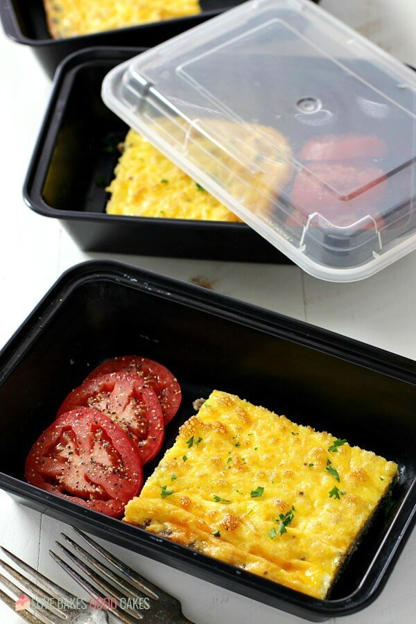 meal prepped Low Carb Baked Omelet