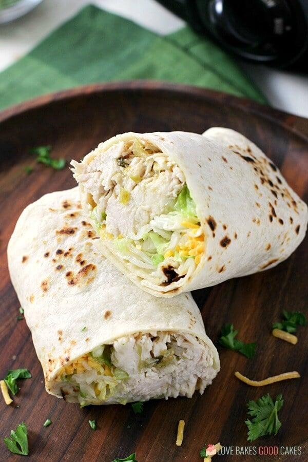 closeup Slow Cooker Salsa Verde Chicken in burrito