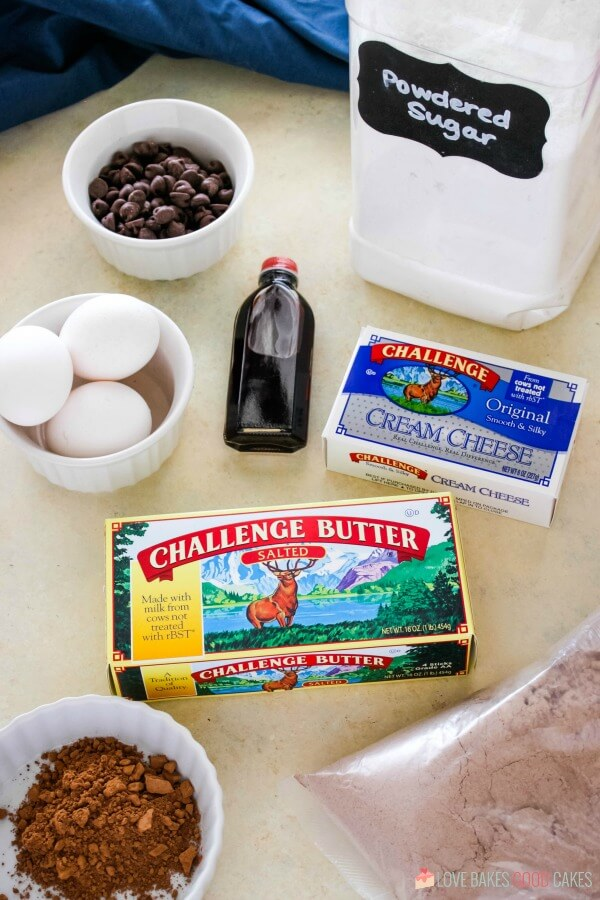ingredients for triple chocolate ooey gooey butter cake