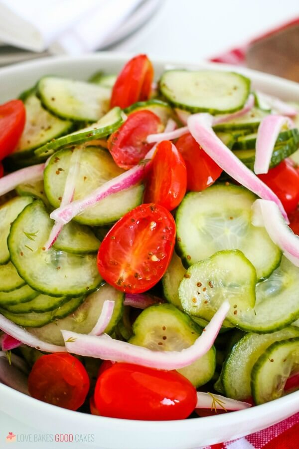 closeup Cucumber Salad
