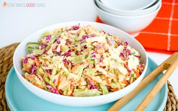 A homemade coleslaw recipe in a serving bowl.