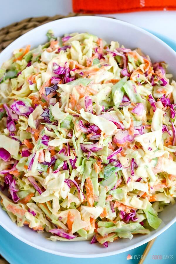 Overhead view of homemade coleslaw recipe in a serving bowl.
