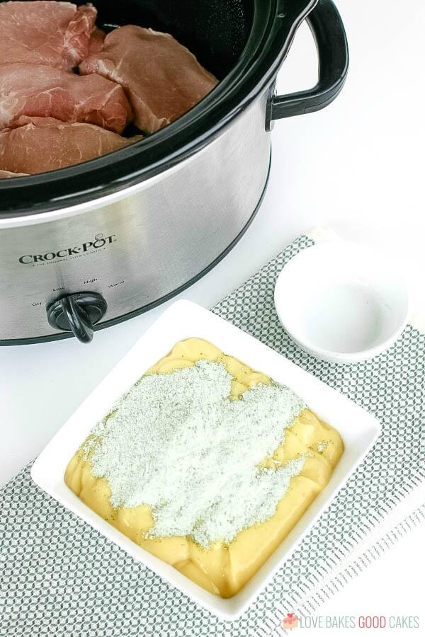 Easy Slow Cooker Pork Chops in a slow cooker