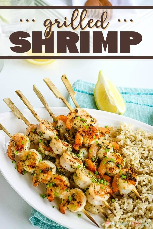 This simple grilled shrimp recipe is a tasty summer favorite, suitable for many dietary needs! Break out the skewers, because we're having seafood tonight!