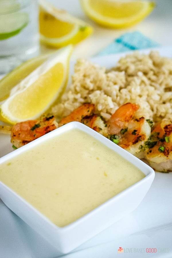 A buttery diping sauce for grilled shrimp.