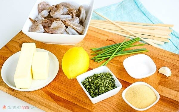Ingredients to make Grilled Shrimp Kabobs.
