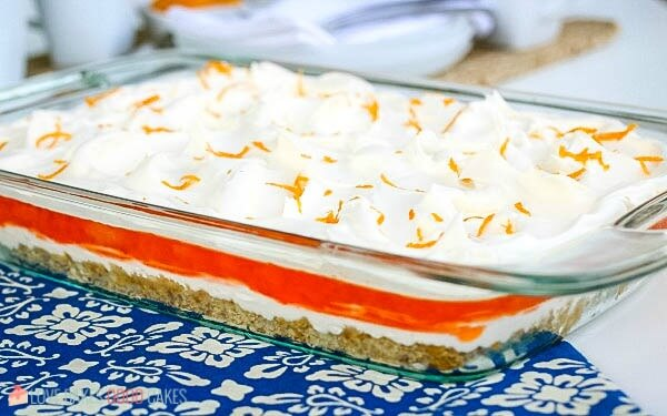 Orange Jello Pretzel Salad in pan