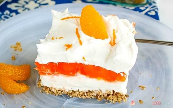 Orange Gelatin Pretzel Salad slice